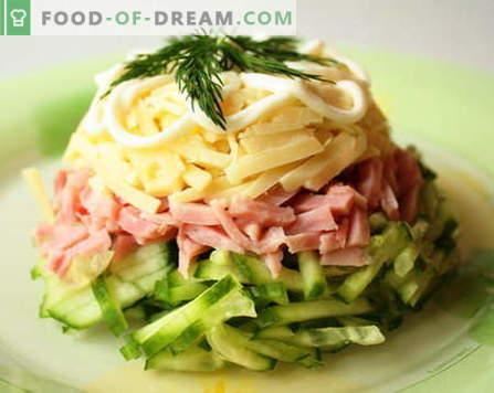Ensaladas con jamón - las mejores recetas. Cómo cocinar correctamente y sabroso cocinar una ensalada con jamón.