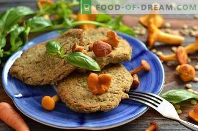 Lentil cutlets with chanterelles