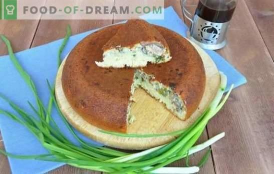 Tartas abiertas, cerradas ya granel con cebollas y huevos en una olla de cocción lenta. Pastel con cebollas y huevos en una olla de cocción lenta - ¡salvación del hambre!