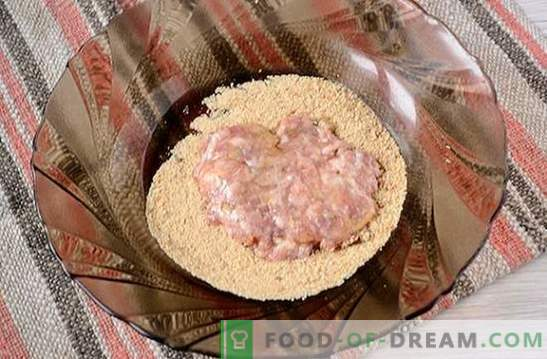 Chuletas de carne picada: tiernas, jugosas, con una corteza crujiente. Receta fotográfica paso a paso del autor para chuletas de carne picada, fritas en una sartén con pan rallado