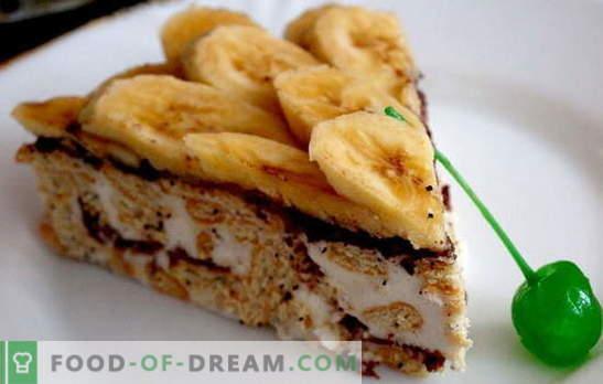Pastel de pan de jengibre con plátano y crema agria, ¡y no es necesario incluir el horno! Recetas de pastel de pan de jengibre con plátanos y crema agria sin hornear
