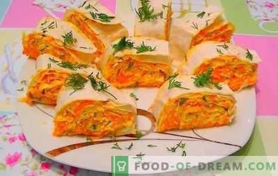 Zanahorias con queso derretido - humor naranja! Recetas para ensaladas rápidas y brillantes, bocadillos de zanahoria con queso derretido