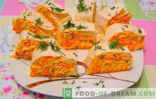 Cenoura com queijo derretido - humor laranja! Receitas para saladas rápidas e brilhantes, salgadinhos de cenoura com queijo derretido