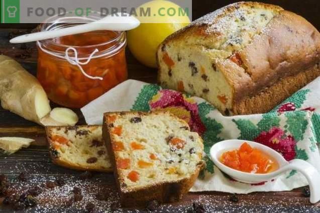 Pastel de jengibre con pasas y mermelada de zanahoria