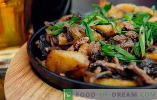 Carne frita con cebolla en una sartén. ¡Todos están contentos! Recetas de carne frita con cebolla en una sartén con crema agria y otra salsa