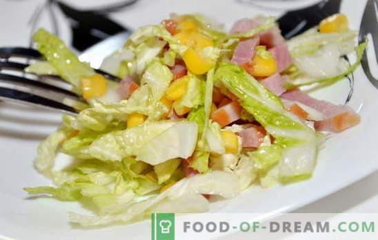 Salat mit Peking-Kohl und Schinken ist ein leichter Snack. Rezepte für Salate mit Peking-Kohl und Schinken: einfach und vielschichtig