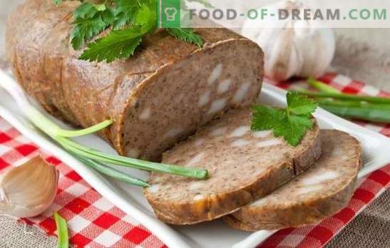 Salchicha hepática en casa - no química! Recetas de salchicha de hígado casera con tocino, trigo sarraceno, señuelo, verduras