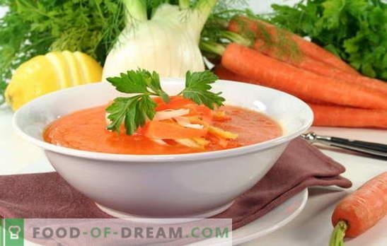 Sopa de zanahoria: un plato soleado en tu mesa. Cómo cocinar una deliciosa sopa de zanahoria: recetas de platos dulces o salados