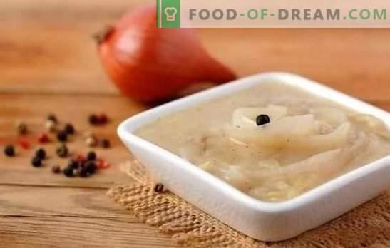 ¡La salsa de cebolla es inusualmente simple, irrealmente sabrosa! Recetas de salsas de cebolla con vino blanco y tinto, crema, tomate, crema agria, tocino