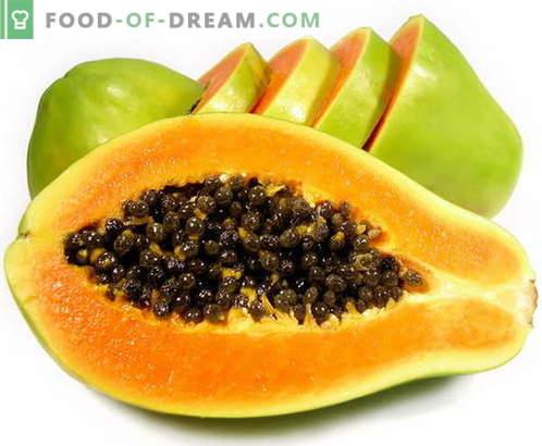 Papaya - descripción, propiedades útiles, uso en la cocina. Recetas con papaya.