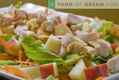 Las ensaladas de pollo y manzana son las mejores recetas. Cómo preparar correctamente y sabroso preparar una ensalada de pollo con manzanas.