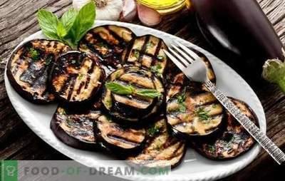 Berenjenas a la parrilla - un bocadillo saludable, delicioso acompañamiento. Ensaladas y aperitivos con berenjenas a la plancha
