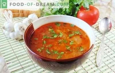 Sopa de Cuaresma Kharcho - ¡sabroso y sin carne! Recetas con sabor a sopa magra kharcho con arroz, tomates, adzhika, albahaca, nueces