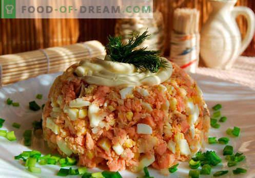 Ensalada jorobada - recetas probadas. Cómo cocinar una ensalada de salmón rosado.