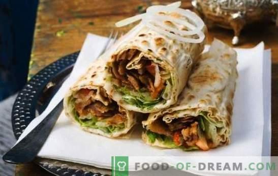 Shawarma con salchicha: un bocadillo para un bocadillo rápido. Cómo cocinar shawarma con salchicha: hervida y ahumada