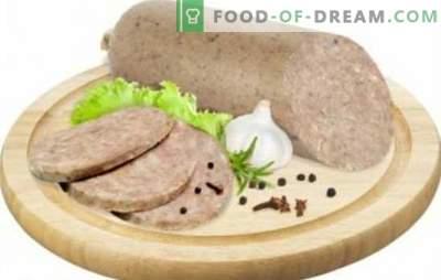 Salchicha de hígado en casa - encontrar presupuesto. Cocinando salchicha de hígado en casa con tocino, arroz, trigo sarraceno