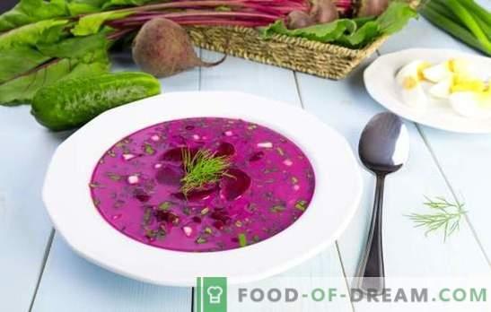 Okroshka con remolacha: un almuerzo refrescante en climas cálidos. Las mejores recetas para el hash de remolacha en kvass o kefir