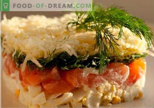 Ensalada en capas con salmón - las recetas correctas. Rápida y sabrosa ensalada cocida en capas con salmón.