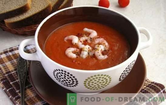 Sopa de tomate con camarones - un manjar aromático. Las mejores recetas de sopa de tomate con camarones y otros mariscos