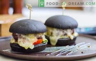 Bollos negros: ¡la verdadera tendencia de esta temporada! Recetas de panecillos negros para hamburguesas con leche, agua, yogur con levadura y desgarradores