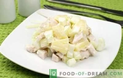 Con piñas y pechuga de pollo es un exótico familiar. Recetas para cocinar ensalada con piña y pechuga de pollo