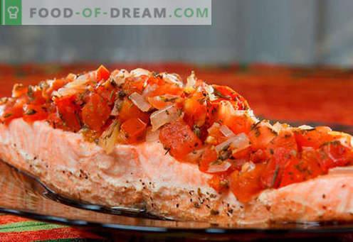 Salmón al horno en el horno - las mejores recetas. Cómo cocinar correctamente y sabroso el salmón, cocido al horno.
