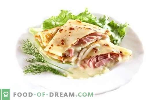 Panqueques con jamón y queso - ¡ñam ñam! La receta de deliciosos panqueques con jamón y queso: horneados, rellenos, con una especia
