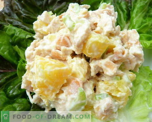 Las mejores recetas son las ensaladas de pollo, piña y champiñones. Cómo preparar de forma adecuada y deliciosa una ensalada con pollo, piña y champiñones