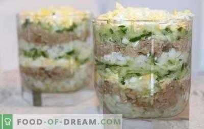 Ensalada de hígado de bacalao con arroz: opciones de cocción para un bocadillo saludable. Recetas para ensalada de hígado de bacalao con arroz: simple e hinchada