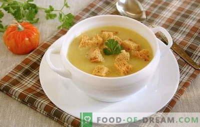 Sopa de crema con crutones: ¡una idea universal para el almuerzo! Sopa de crema de papas con crutones y verduras, champiñones, pollo