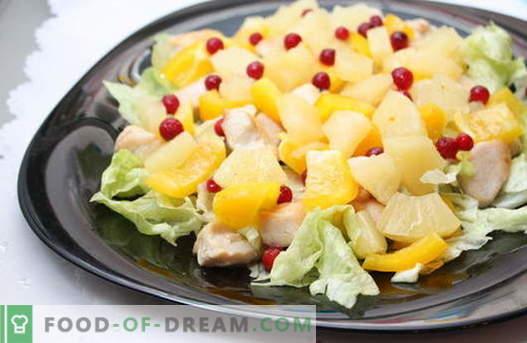 Las ensaladas de piña son las mejores recetas. Cómo preparar de forma adecuada y deliciosa las ensaladas con piñas.