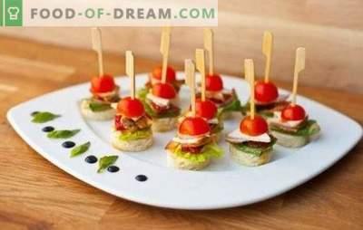 Snacks en pinchos - siempre sabrosos y espectaculares. Recetas sencillas de canapés originales y bocadillos de fruta en pinchos