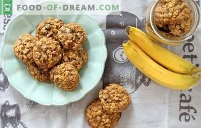 Biscoitos de aveia com banana: uma sobremesa de café da manhã perfumada e saudável. Opções de cozimento para biscoitos de aveia com banana, frutas secas, queijo cottage, nozes e chocolate
