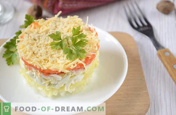 Ensalada francesa con zanahorias: en porciones, hermosa y sabrosa. Receta fotográfica del autor de la ensalada paso a paso en francés con zanahorias, huevos, manzanas y nueces