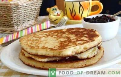 Pannenkoeken met zure room: gepoft, vla, zoet, gierst, griesmeel, zijde. Veel recepten voor pannenkoeken zure room