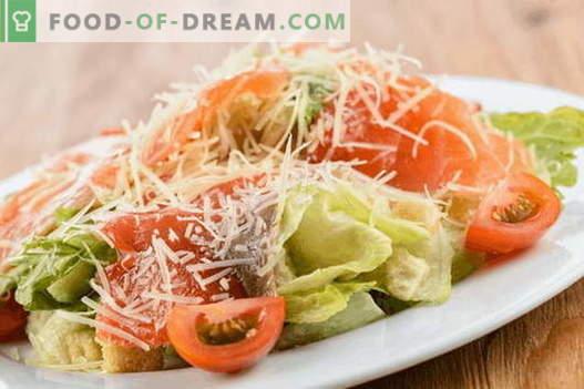 Ensalada con salmón y queso - las recetas correctas. Rápida y sabrosa ensalada de salmón y queso.