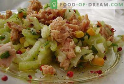 Ensalada de atún enlatada - Recetas probadas. Cómo cocinar una ensalada de atún en conserva.