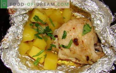 Pollo con papas en el horno en papel de aluminio - nuevas recetas. Cómo cocinar pollo con patatas en el horno en papel de aluminio
