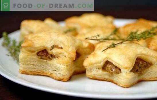 Hojaldre hojaldre con carne picada - crujientes y jugosas pastas. Una selección de las mejores recetas para hojaldres con carne picada