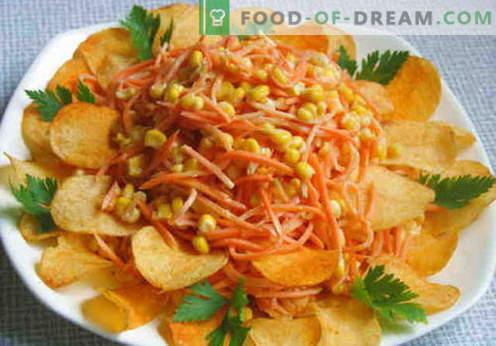 Ensalada con papas fritas - una selección de las mejores recetas. Cómo preparar adecuadamente y con sabor una ensalada con patatas fritas.