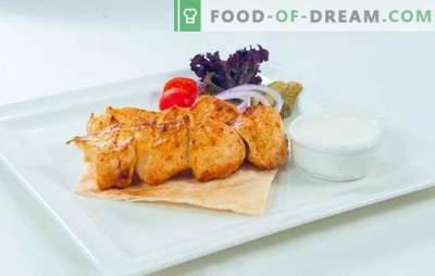 Nutrición adecuada - pinchos de pavo! En brasas o parrillas, kebabs de pavo en el más delicioso vino o adobo de limón