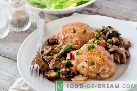 Pollo con champiñones - las mejores recetas. Cómo cocinar correctamente y cocinar el pollo con champiñones.