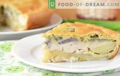 Lazy Kurnik - pastel rápido. Kurnik perezoso en masa de requesón, crema agria o kéfir, con filete de pollo, carne picada, queso, papas