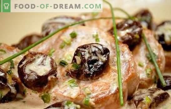 Cerdo con ciruelas pasas - la mejor combinación de carne y fruta. Cocinando carne de cerdo deliciosa con ciruelas: guisada, al horno, frita