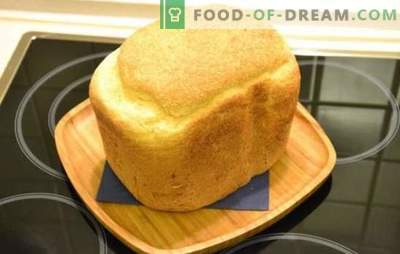 Wit brood in een broodbakmachine - klassiek en met verschillende toevoegingen. Wit brood met rozijnen, honing, wortelen, knoflook - recepten voor broodbakmachine