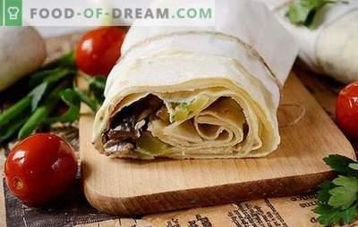 Un shawarma de pita con filete de pollo con champiñones - comida rápida casera. Paso a paso la foto-receta del autor deliciosa shawarma casera