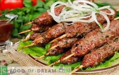 Kebab tradicional na grelha: de que e como. Receitas de kebabs de borrego, carne de porco, frango e batatas