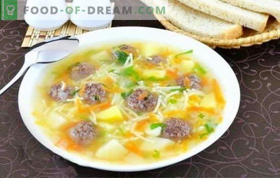 Sopa con albóndigas y fideos - ¡hacer un delicioso almuerzo es simple! Las mejores recetas para sopas con albóndigas y fideos