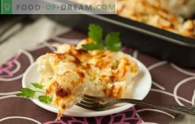 La coliflor en crema agria es un plato sabroso y tierno de sus vegetales saludables. Coliflor con crema agria en el horno