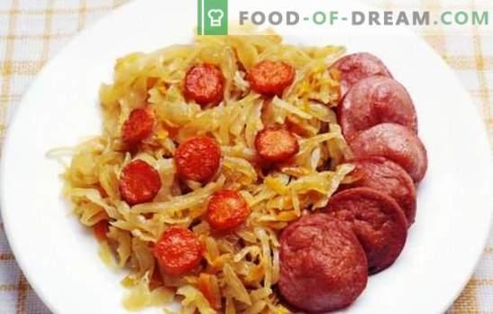 Repollo estofado con salchicha - un plato para todos los días. Recetas para repollo estofado con salchicha en un caldero, horno y una olla de cocción lenta
